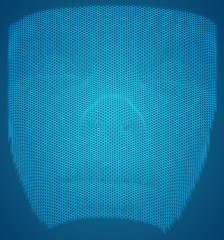 vector 3d portrait of a girl from a render of a hexagonal grid