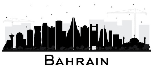 Bahrain City Skyline Silhouette with Black Buildings Isolated on White.