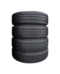Car tyres pile isolated on white background