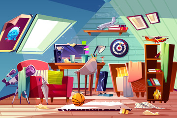 Messy attic kids room interior with uncovered bed, clutter on desk, scattered clothes and toys cartoon vector illustration. Garret bedroom belonging carelessness teenager boy. Cleaning in child room