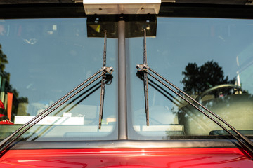 Wiper blades on the firefighter truck