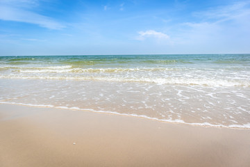 Tropical beach with green ocean and small wave.