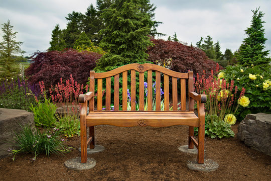 View of wooden bench in picturesque garden with blue sky and wispy white clouds