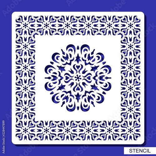 stencil round ornament and square border carved mandala contour in