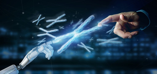 Cyborg hand holding a Group of chromosome with DNA inside isolated on a background 3d rendering