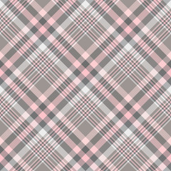 Seamless plaid pattern in shades of gray and pink