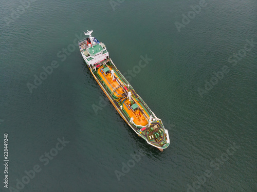 Aerial Top View of sea freight, Crude oil tanker lpg ngv at