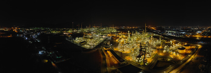 Poster Vegetal Aerial view thailand oil refinery production at industrial estate Thailand. Crude Oil Production / Countries of the World - Oil Tank