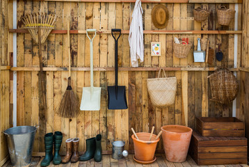 Gardening tools in the shed, tool concept