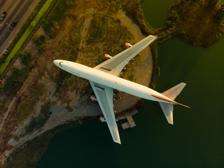 Aerial view of old plane abandoned as monument and learning from amphoe don tum thailand