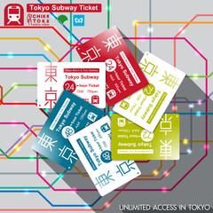 Tokyo Subway pass. vector illustration