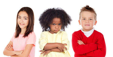 Many angry children isolated on a white background