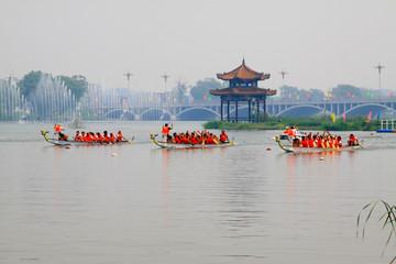 dragon boat race scene in Chinese traditional Dragon Boat Festival