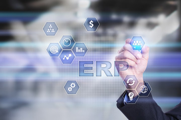 ERP - Enterprise resource planning corporate system concept on virtual screen.