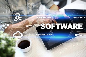 Wall Mural - Software development. Data Digital Programs System Technology Concept.