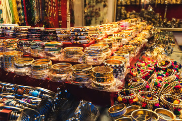 Traditional indian bangles and bracelets at the market.
