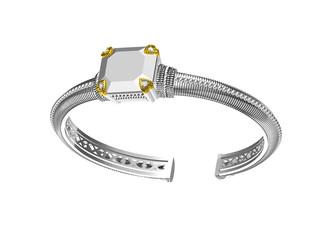 Beautiful gold Bracelet with diamonds, on white background , 3D illustration.