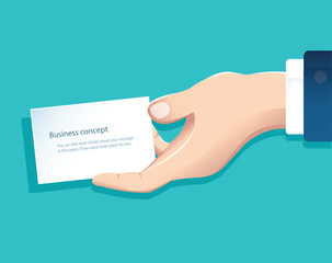 human hand holding white paper isolate on blue background vector design illustration eps10