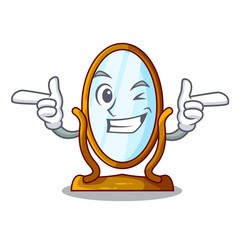 Wink big cartoon mirror in wooden frame