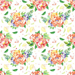 Watercolor flowers seamless pattern. Handpainted  watercolor pattern with flowers and branches, leaves. Perfect for you postcard design, wallpaper, print, invitations, packaging etc.