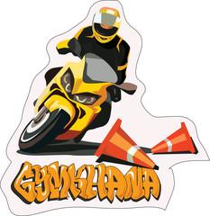 moto sport vector sticker illustration for print
