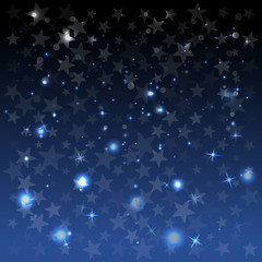 Abstract background with stars. Blue. Holiday decoration. Vector illustration
