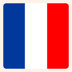 French square flag button, social media communication sign, business icon.