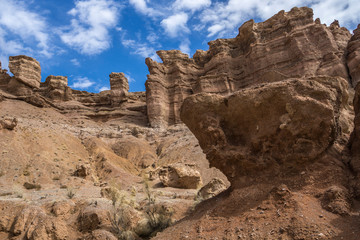 Rock formations in Charyn Canyon, Kazakhstan