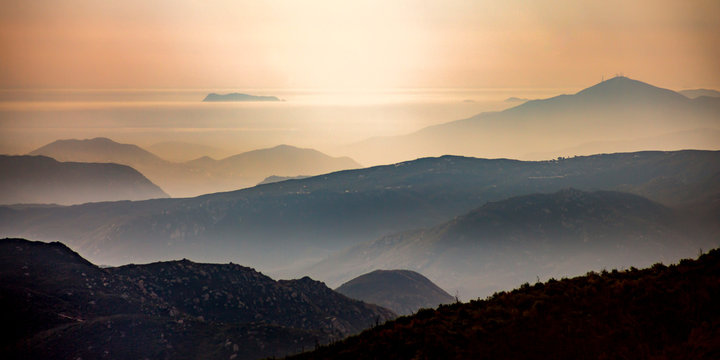 Silhouetted mountains and horizon at Mount Laguna