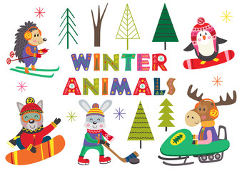 set of isolated winter fun with animals part 2 - vector illustration, eps