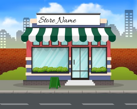 Red and green store building background