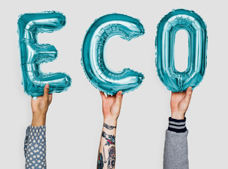 Hands showing eco balloons word