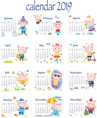 calendar 2019, year, month, pig, funny image of pig