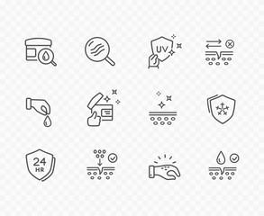 Skin line icon set isolated on background. Care, collagen, cream search sale signs. Vitamin E, olive oil, serum drop elements. Vector outline stroke symbols for medical cosmetic design.