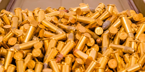 Some golden ammunition inside a container close up