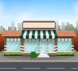 Brick store building design with green awning