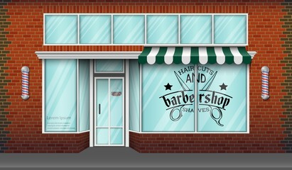 Barbershop storefront building background