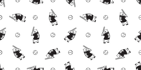 Bear seamless pattern Polar Bear vector baseball soft ball sport scarf isolated till background repeat wallpaper