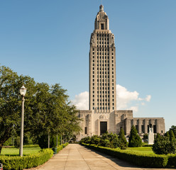 Blue Skies on the Sidewalk Leading to State Capital Building Baton Rouge Louisiana