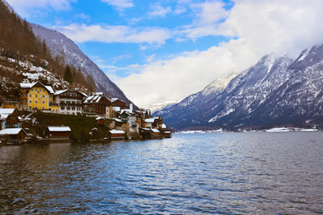 Fototapete - Village Hallstatt on the lake - Salzburg Austria