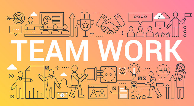 Team work word trendy composition concept banner. Outline stroke teamwork, creative group, leadership, community office. Flat line icons lettering typography.