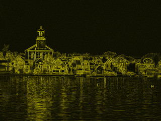 Abstract impression of Provincetown, Ma. library and town houses.