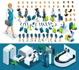 Isometric set 5 create your character, business lady at the airport. Set of gestures of hands, feet, emotions of the character, a set of different hairstyles