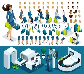 Isometric set 3 create your character, business lady at the airport. Set of gestures of hands, feet, emotions of the character, a set of different hairstyles