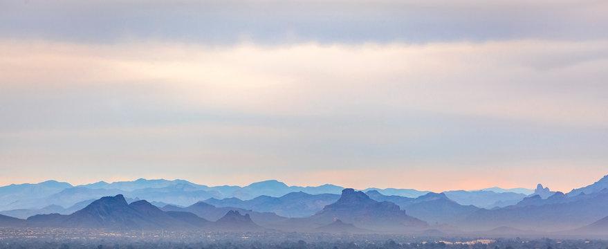 Striking mountains in Arizona under a hazy sky