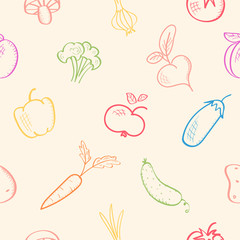 Seamless pattern with fruits and vegetables. Harvest theme. Vector background, sketch illustration with food. Autumn, fall season. Wallpaper.