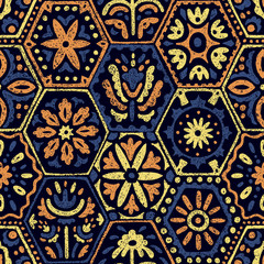 Seamless vintage pattern in patchwork style. Ethnic and tribal motifs. Handwork.
