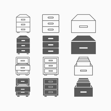 drawer icon, tray vector