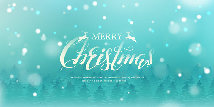 """Vector horizontal illustration with forest of fir trees, text """"Merry Christmas"""" and snowfall. Simple festive marine blue background with lettering and snow for design of flyer and banners."""