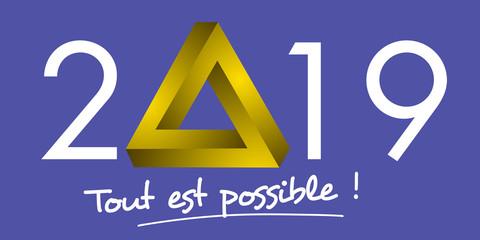 Carte de vœux 2019 avec une forme triangulaire impossible, pour symboliser le défi à relever pour une entreprise et la motivation indéfectible de son équipe